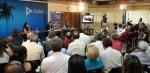 Videoconferenza stampa nel teatro Camilo Cienfuegos del Ministero degli Affari Esteri de L'Avana