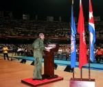 Inaugurazione del Corso dei Maestri Emergenti per le scuole elementari in un atto effettuato nella Città Sportiva della capitale cubana, dove analizzò i tragici avvenimenti successi quella mattina negli Stati Uniti