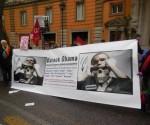 manifestazione a Roma per visita di Obama